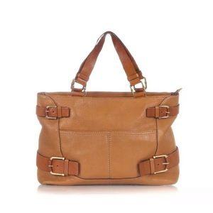 Michael Kors Brown tan leather shoulder tote bag